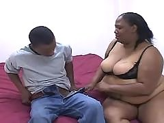 Big titted black plump babe going naughty