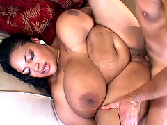 Black BBW hottie enjoying a white dick in her cunt