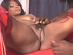 This ebony fatty knows how to handle cock black chubby movies