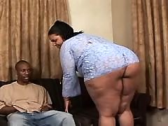 Appetizing titty ebony fatty takes a ride