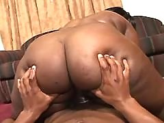 Steamy black BBW slut gets plugged hard