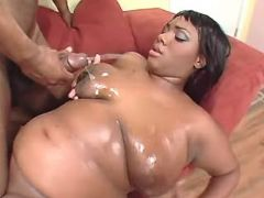 Chubby ebony milf gets cum on boobs black chubby movies